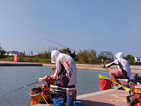 钓鲤鱼鲫鱼钓鱼比赛前的试钓